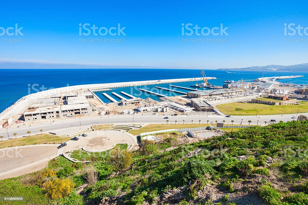 Tangier port aerial view Morocco. Tangier is a major city in northern...