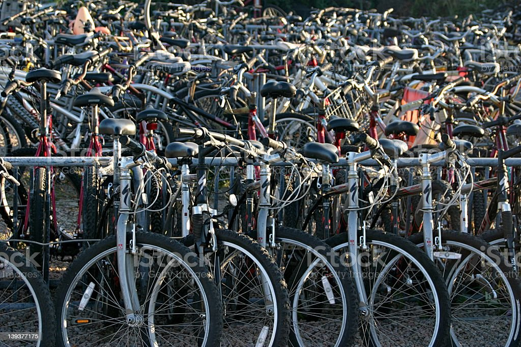 tangle of many bicycles stock photo