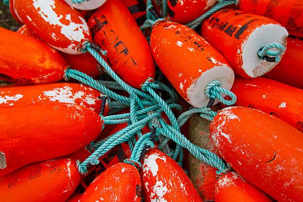 Tangle of Orange Crabbing Floats stock photo