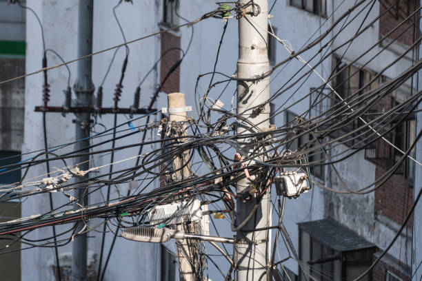 Tangle of wires in Seoul, South Korea stock photo