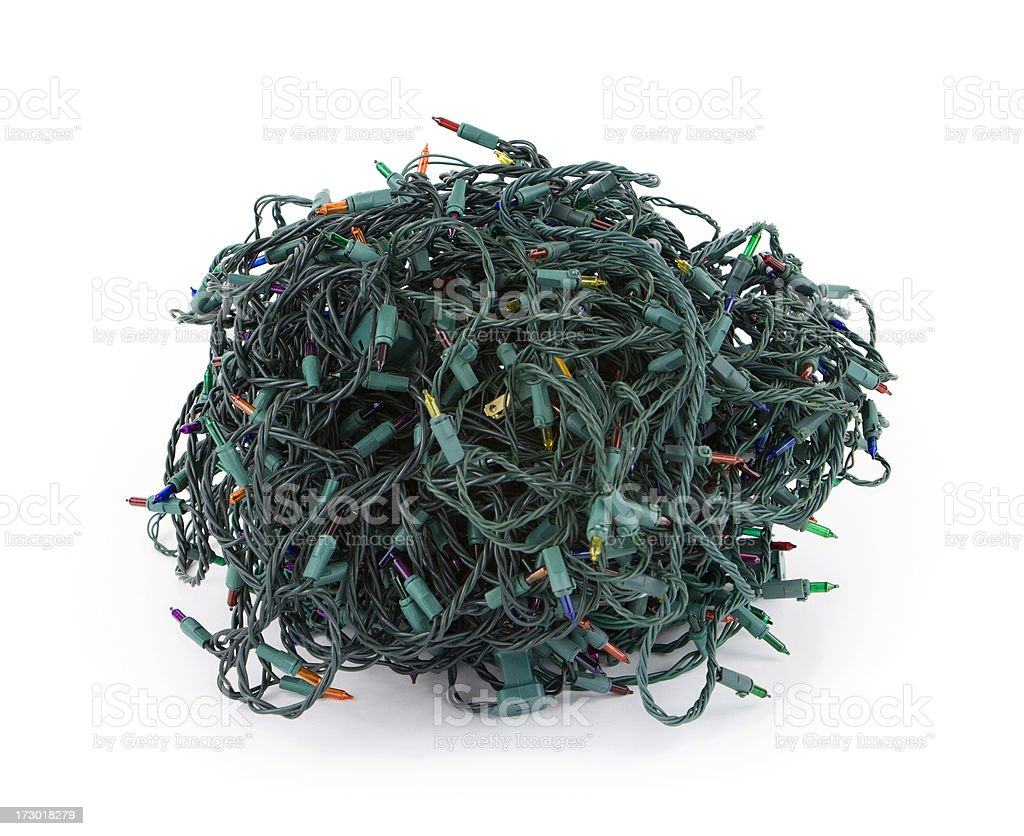 tangled christmas lights royalty free stock photo - Tangled Christmas Lights