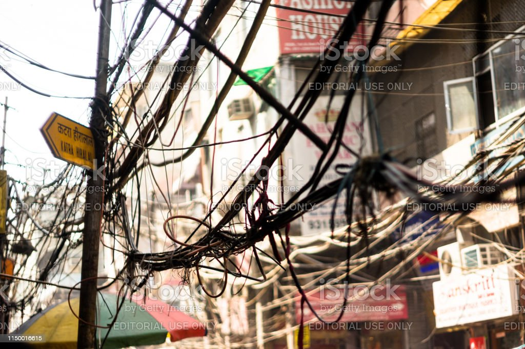 Tangled Messy Electrical Wires On Pole Posing A Safety Hazard Stock Photo Download Image Now Istock