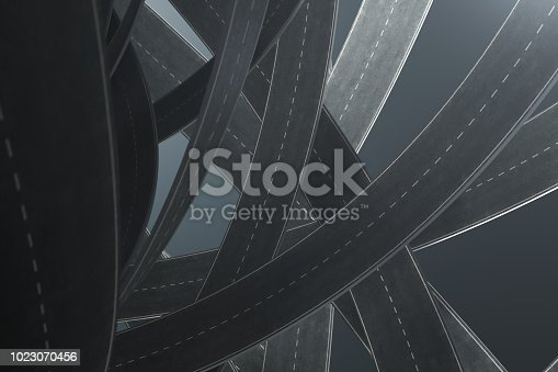 istock Tangled roads, on grey background. Abstract road knot. Concept travel, transportation. 3D illustration 1023070456