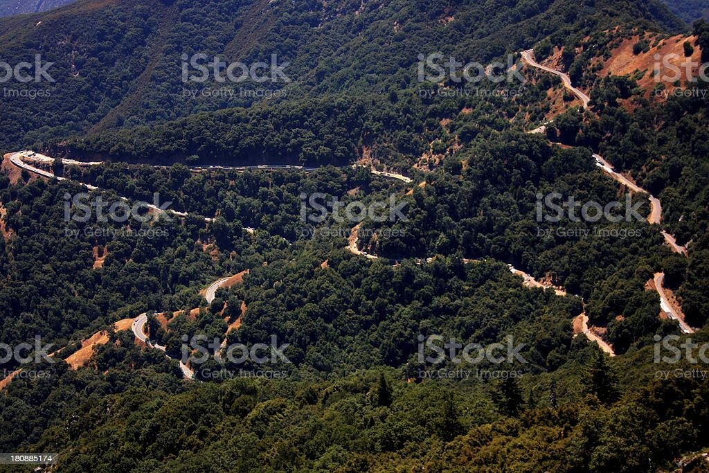 Tangled switchbacks in Kings Canyon, California royalty-free stock photo