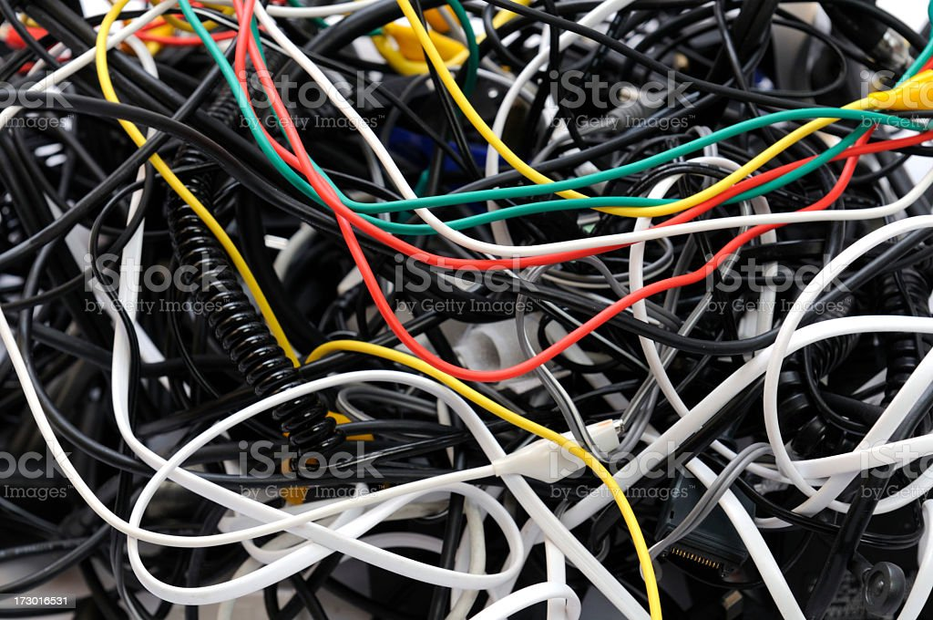 Tangled wires of different sizes and colors royalty-free stock photo
