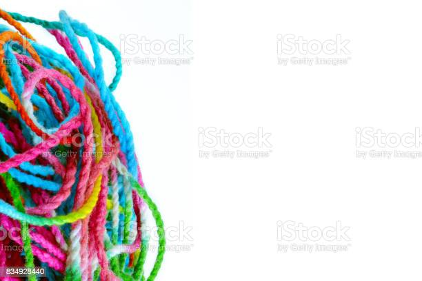 Tangled yarn tangled colorful sewing threads on white background with picture id834928440?b=1&k=6&m=834928440&s=612x612&h=xddlujvlau4fmu2j1rlu0vbbgnab7huhzo7nr8komt4=