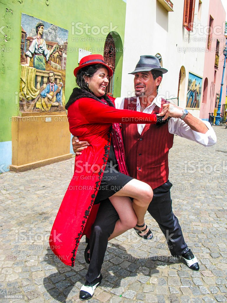 tango dancer  in Caminito Street in La Boca stock photo