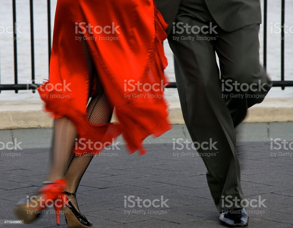 Tango dancers details of the feet stock photo