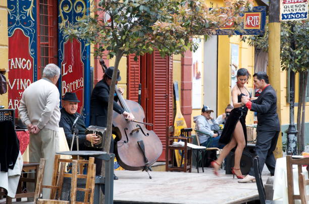 Tango Dancers in Caminito Argentina Business in Caminito's neighborhood, in Buenos Aires, attract many tourists, and locals alike. It's very colorful, and full of tradition, restaurants offer outdoor dining with tango music in the background. A Tango show on the street in front of a restaurant, with live music, is a great way to make costumers come for lunch. Argentina stock pictures, royalty-free photos & images
