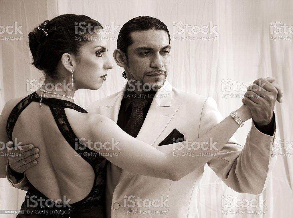 Tango Dancers in sepia stock photo