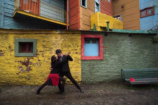 Tango dancers on the street stock photo