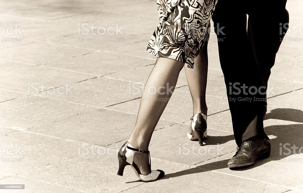 Tango dancers with sepia tones stock photo