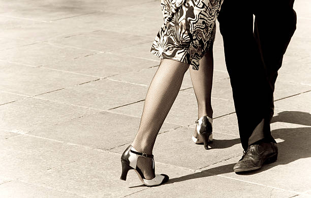 tango dancers with sepia tones - music style stock pictures, royalty-free photos & images