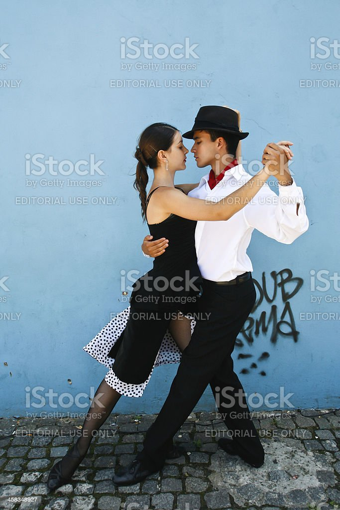 Tango demonstration in the streets of La Boca Buenos Aires stock photo