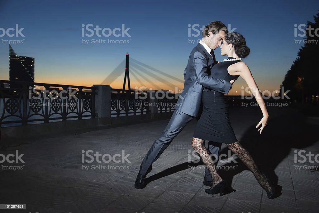 tango in the night city stock photo
