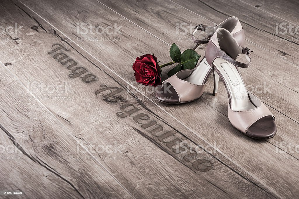 Tango shoes, text space stock photo