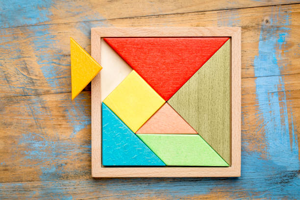 tangram - chinese puzzle game - incomplete stock pictures, royalty-free photos & images