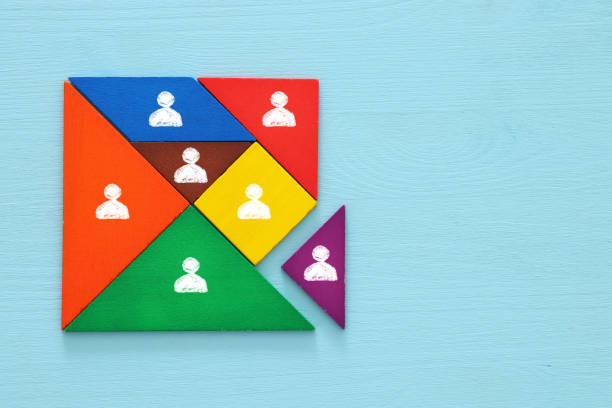 tangram puzzle blocks with people icons ,human resources and management concept. – zdjęcie