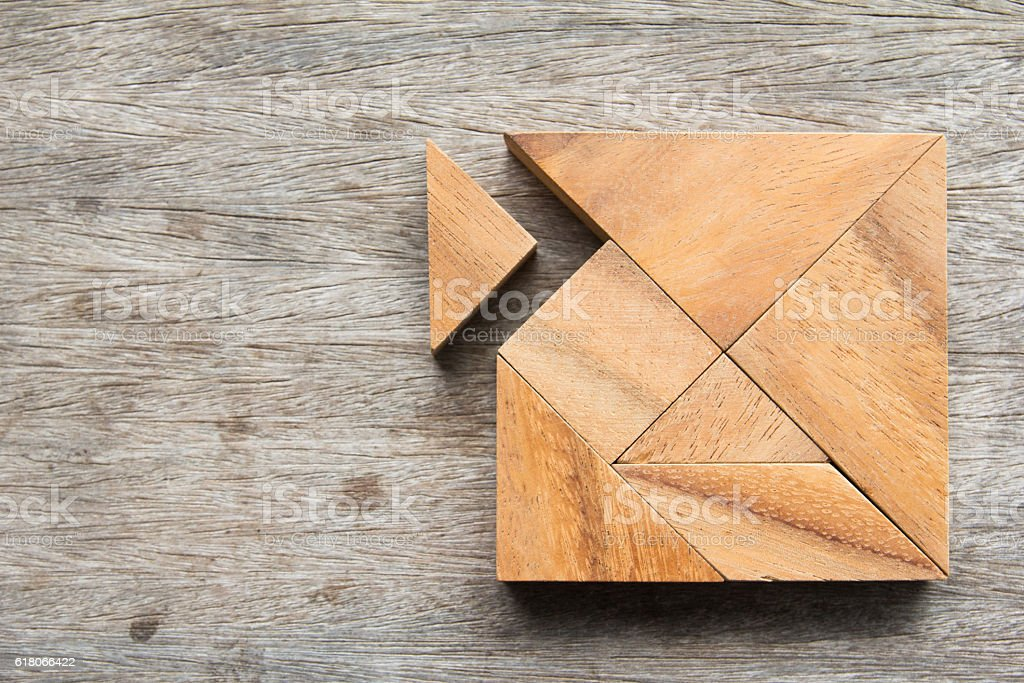 Tangram puzzle wait for fulfill to square shape stock photo