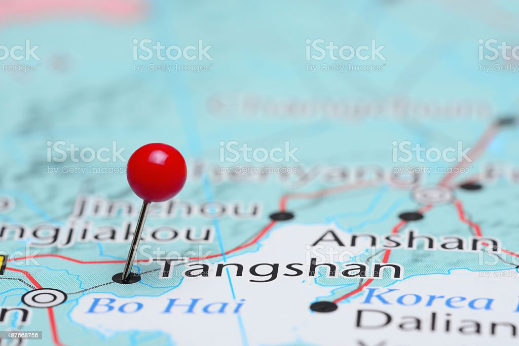 Tangshan pinned on a map of Asia stock photo