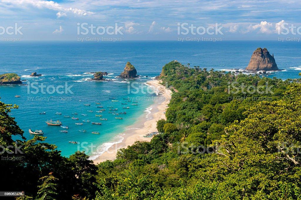 Tanjung Papuma Beach in Jember, East Java, Indonesia royalty-free stock photo