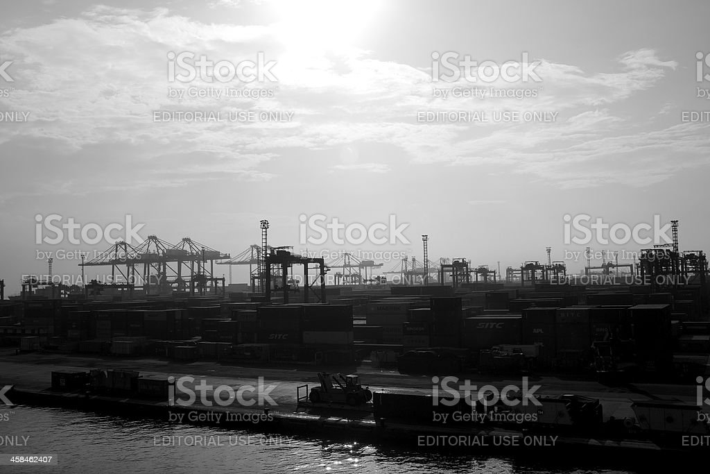 Tanjung Priuk International Seaport In The Sunday Morning royalty-free stock photo