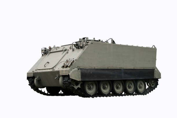 tank armored Personnel Carrier on white background. stock photo