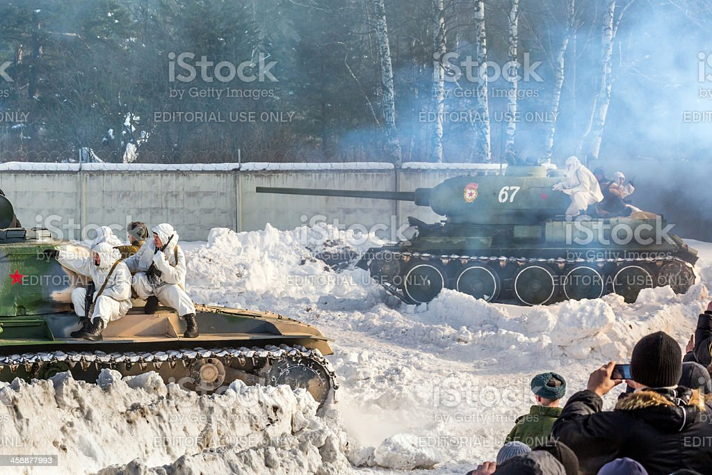 Tank attack. Battle reconstruction royalty-free stock photo