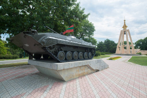 A tank attraction in Transnistria. Tiraspol is the capital of Transnistria stock photo