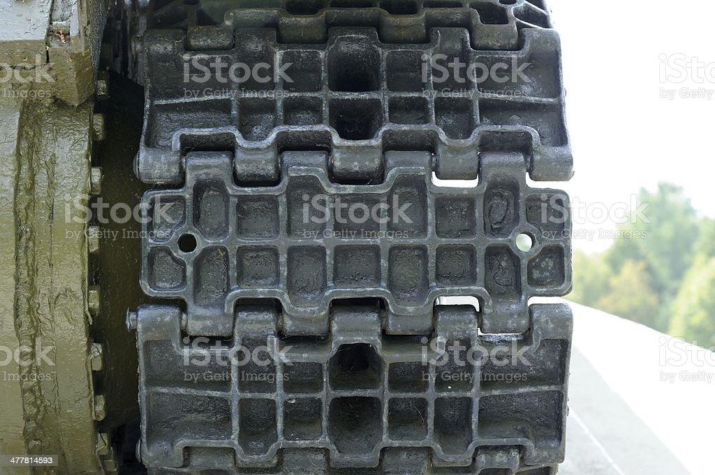 Tank Caterpillar Tread Close-Up stock photo