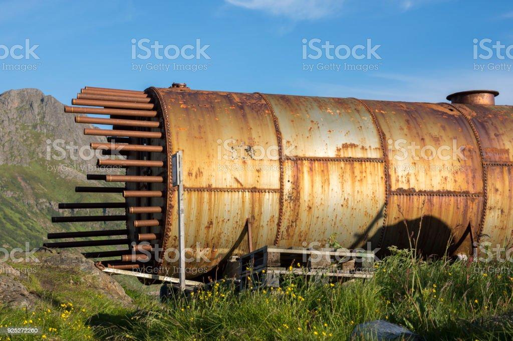 tank, cistern in Niksund village in Norway stock photo