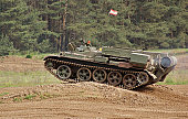 """outdoor shot showing a old tank of the """"Nationale Volksarmee"""" in Germany, now used for a private tank driving school"""