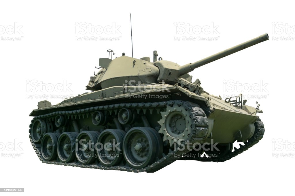 Tank in the Army in isolated background stock photo