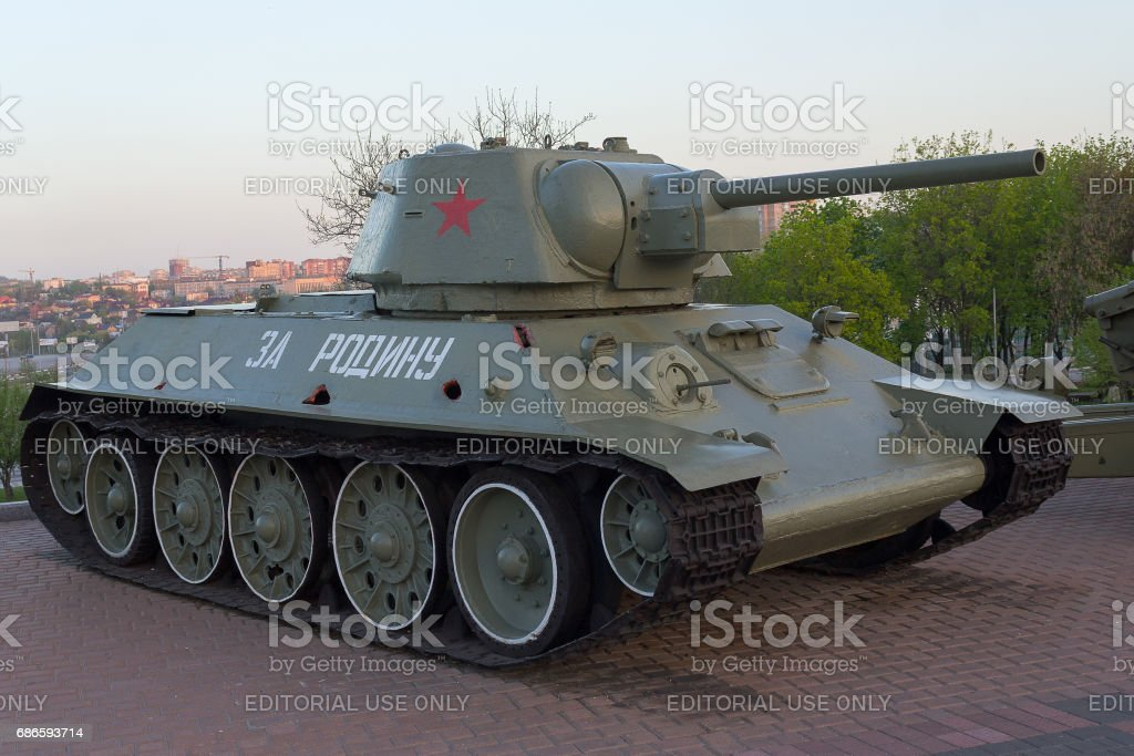T-34 tank in the exposition of the museum stock photo