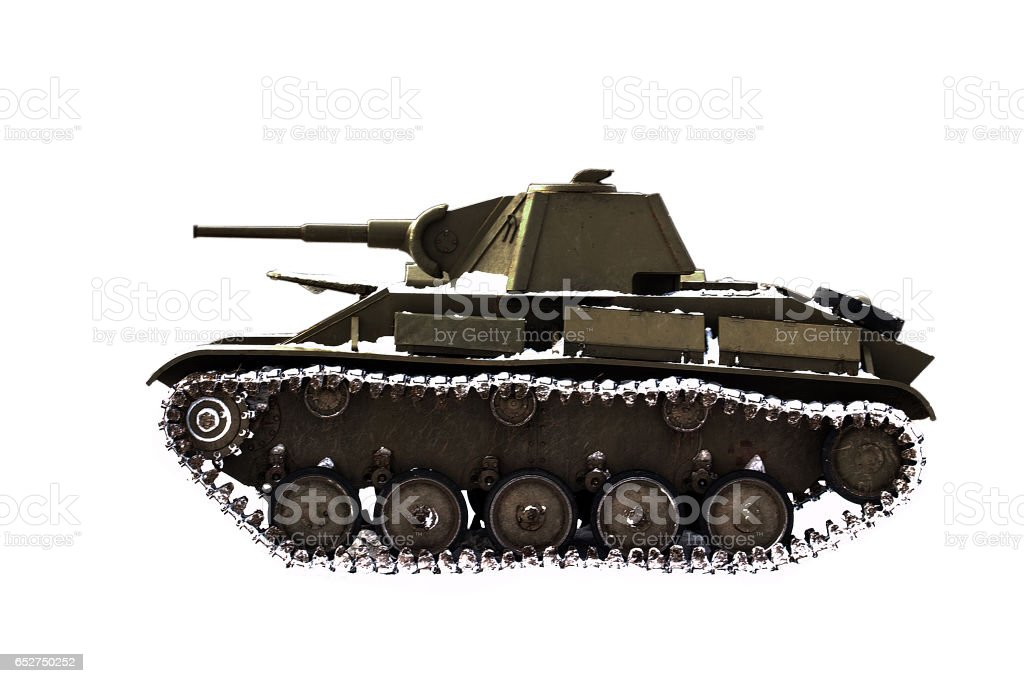 Tank in the snow stock photo