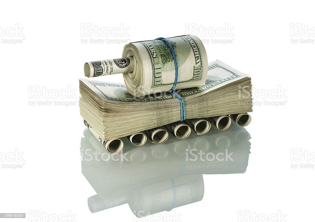 Tank made of money royalty-free stock photo