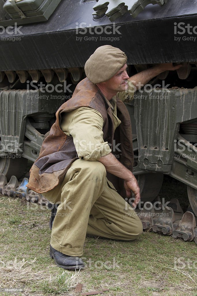 WW2 Tank Mechanic. stock photo