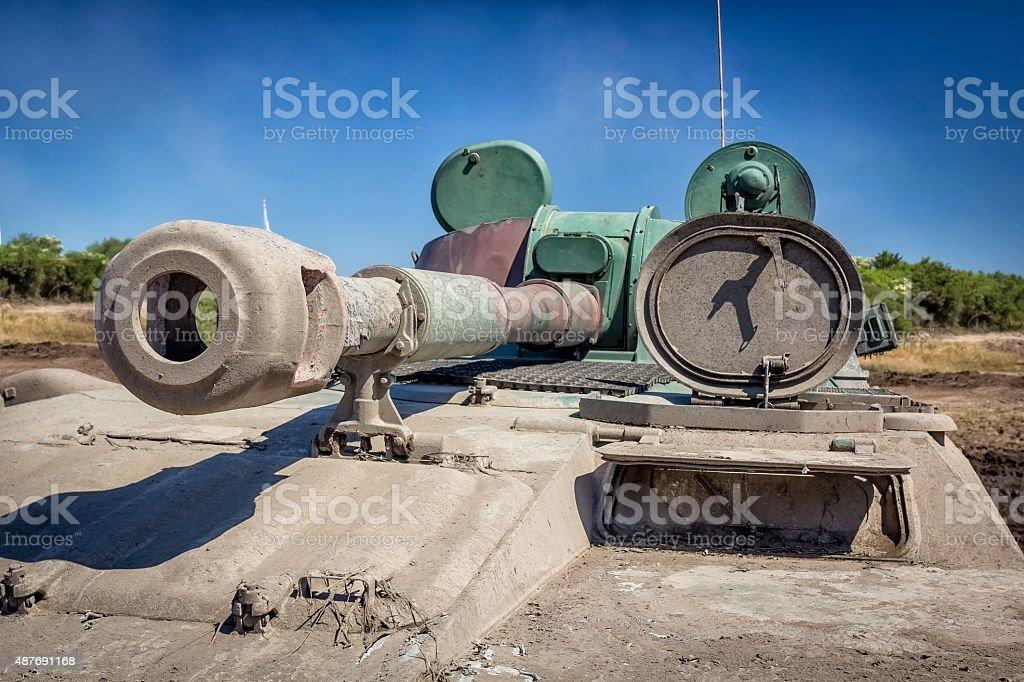 Tank on the battlefield stock photo