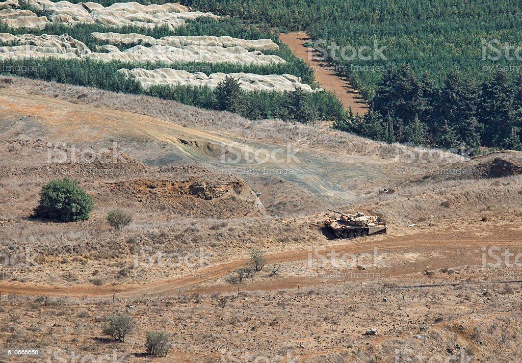 tank on the Syrian-Israeli border stock photo