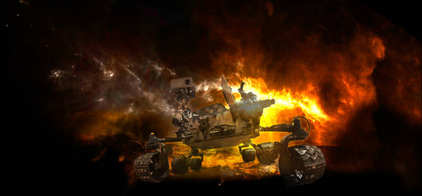 Tank rover in the conflict zone. The war in the Mars. Martian surface in fire and vehicle is moving toward us. Elements of this image furnished by NASA. Tank rover in the conflict zone. The war in the Mars. Martian surface in fire and vehicle is moving toward us. Elements of this image furnished by NASA.  /urls: https://images.nasa.gov/details-PIA21073.html https://photojournal.jpl.nasa.gov/catalog/PIA19808 / rover stock pictures, royalty-free photos & images