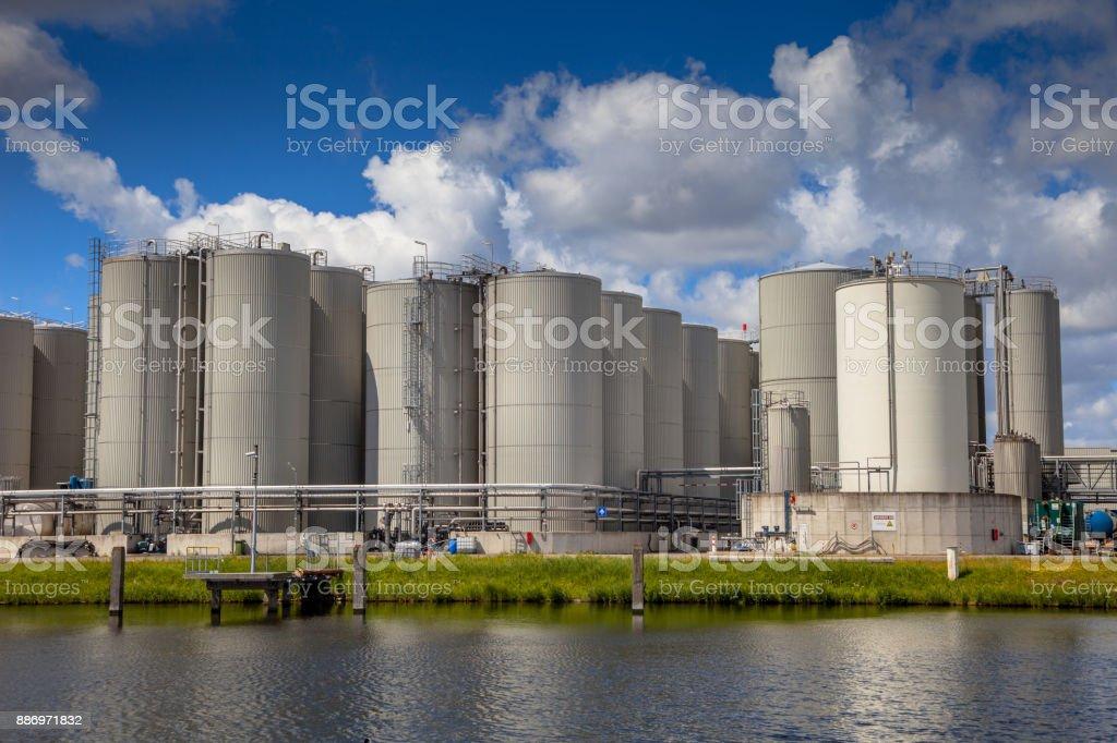 Tank storage background stock photo