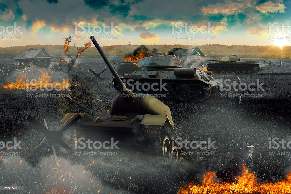 Tank stuck in a trench bildbanksfoto