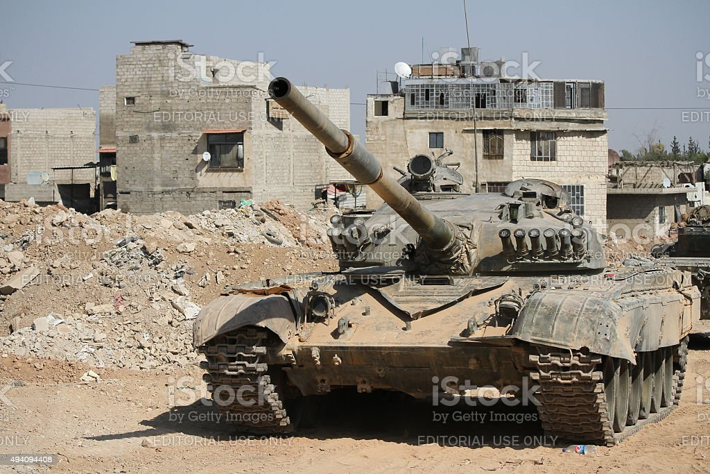 Tank Syrian national army near the combat zone in Damascus stock photo