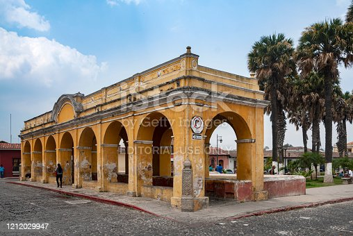 Guatemala, La Antigua Guatemala - April 18, 2016: Tank the union, in colonial city La Antigua Guatemala, national and foreign tourism, world heritage site by UNESCO in 1979.