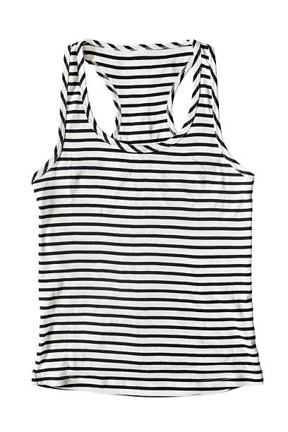 Tank top Black and white striped tank top isolated over white sailor suit stock pictures, royalty-free photos & images