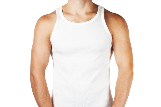 tank top Young man wearing white blank tank top isolated on white background tank top stock pictures, royalty-free photos & images