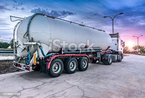 Tanker truck carrying fuel on the road