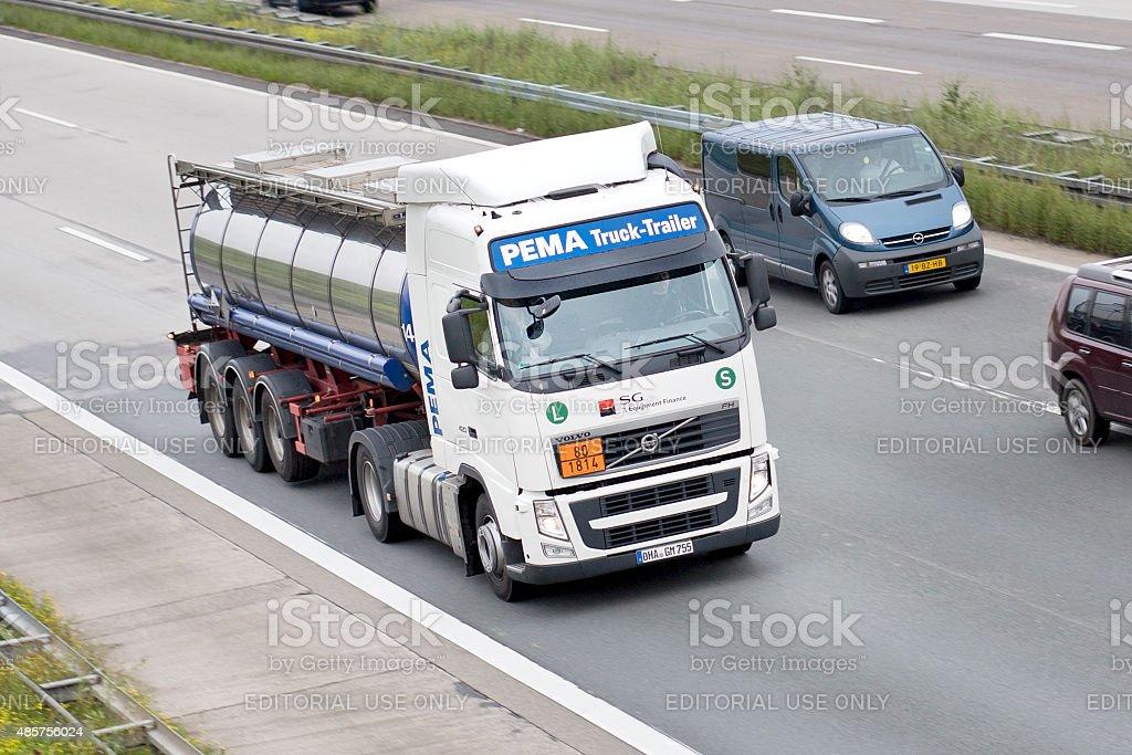 Tank truck on german Autobahn stock photo