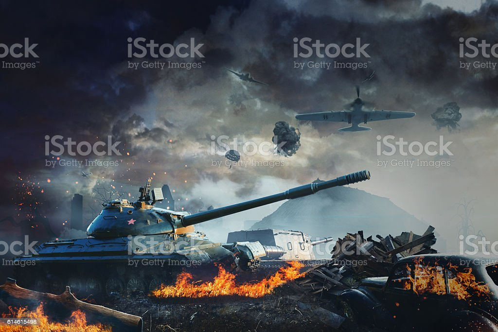 Tank under fire from aviation stock photo