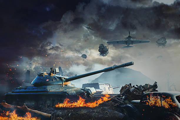 Tank under fire from aviation Tank under fire from aviation in the country battlefield stock pictures, royalty-free photos & images